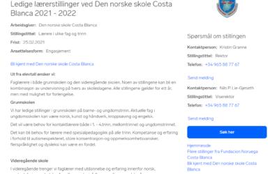 Ledige lærerstillinger ved Den norske skole Costa Blanca 2021 – 2022